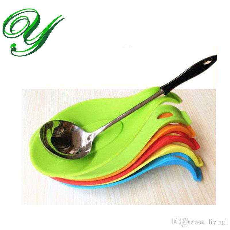 Silicone Spoon Rest for stove cutlery scoop holder hanger 19cm storage  organizers FDA approved candy color kitchen tools utensils giift