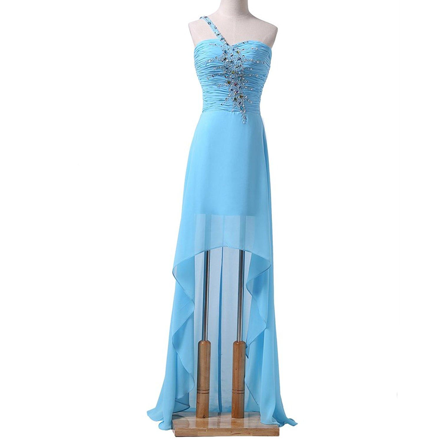 Chiffon Party Long Women\'S One Shoulder Beaded Crystal Corset Back ...