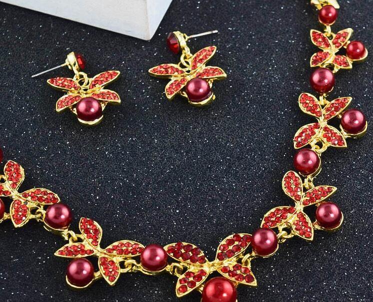 Bride's pearl pearl leaf necklaces accessoires boucles d'oreilles et boucles d'oreilles accessoires