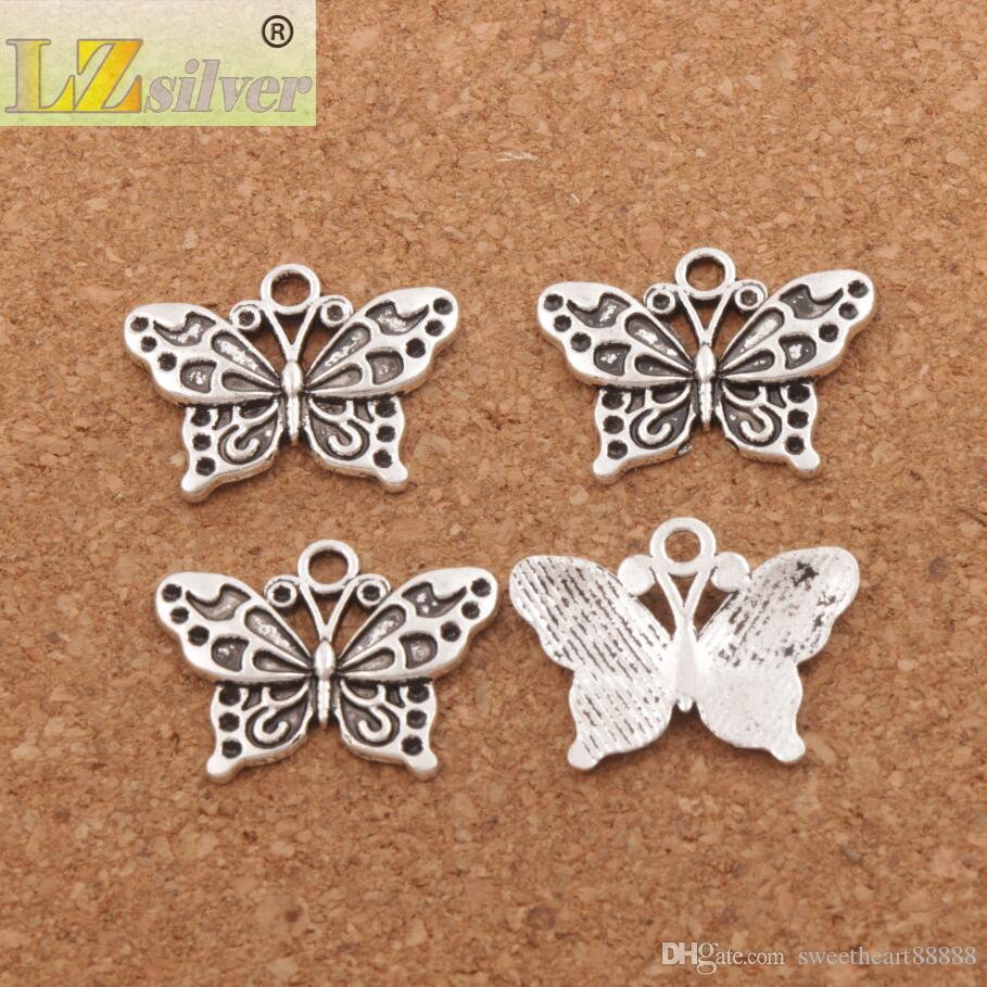 Blanc Peacock Anartia Jatrophoe Butterfly Charm Perles / 24.8x19.1mm Argent Antique Pendentifs Bijoux DIY L1128