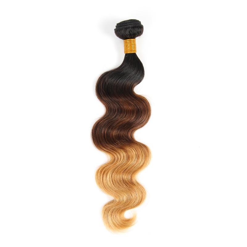 El cabello humano brasileño de la Virgen de la onda del cuerpo teje es del tono 1B / 4/27 100g trama doble sin enredadera del vertimiento libremente