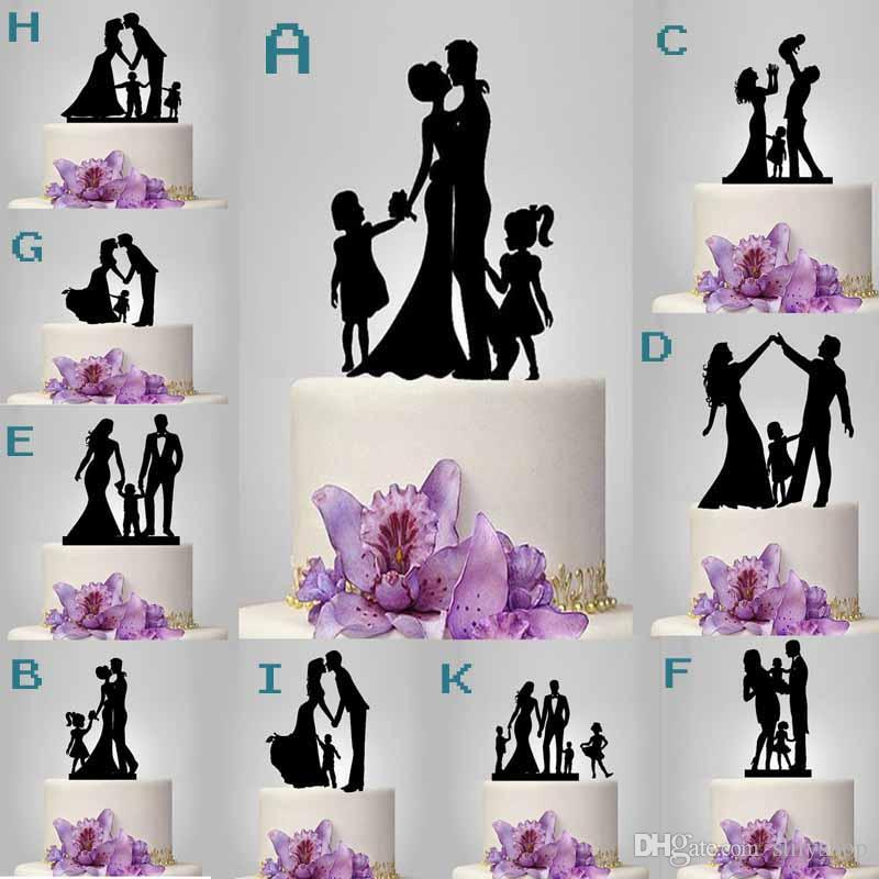 Family Silhouette kissing bride and groom and child wedding cake topper black acrylic birthday cake toppers
