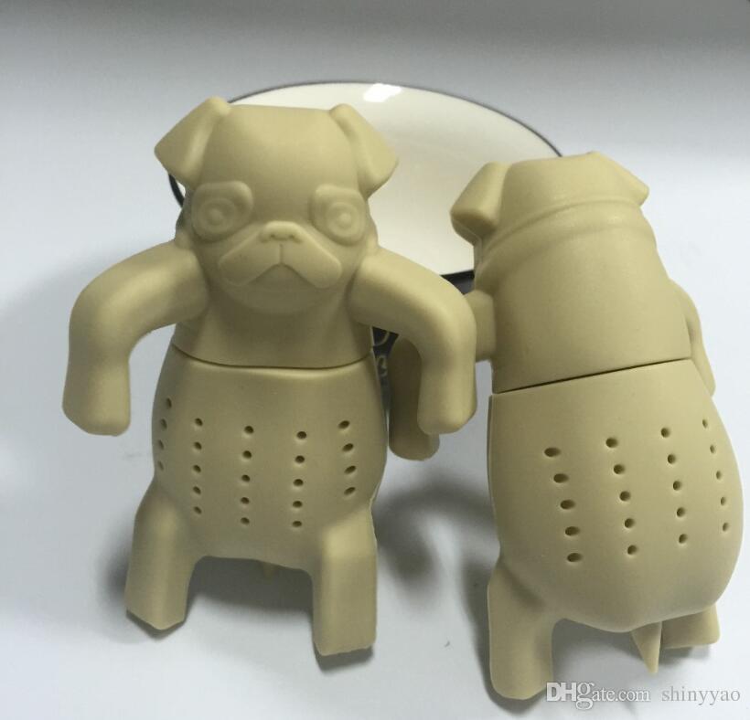 Freies Verschiffen - neuer Art- und Weiselebensmittelgrad-Neuheits-Mops in einer Farbe des Bechersiliketeeefleischhundeform-Teeaufgüssen 3 wählen