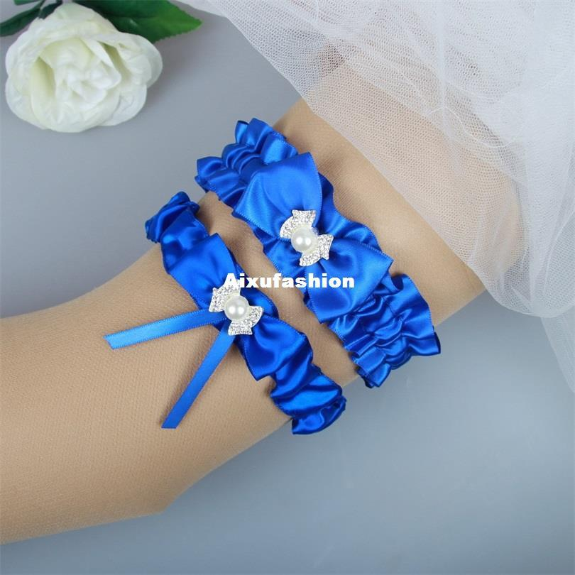 2018 Royal Blue Garters Belts Wedding Bridal Leg Ring Legs Clips Strap Sexy Garter Belt For Party Dancewear With Crystal Webbing Bows From Aixufashion
