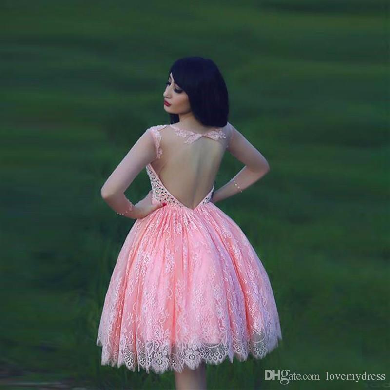 Prinses baljurk jurken partij backless crystal bling prom kant roze jurk zoete 16 meisjes mooie hoge kwaliteit formele slijtage knielengte