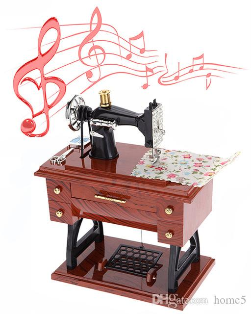 Hot Vintage Mini Sewing Machine Style Mechanical Music Box Gift Adorable Decor Mini Sewing Machine