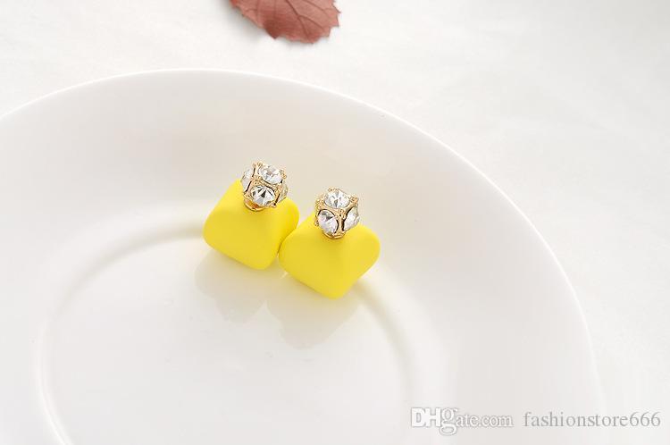 Trendy Celebrity Candy cores Dupla Face Brincos De Pérola Cubic Zicon Bola Brincos De Cristal Da Orelha Jóias Declaração