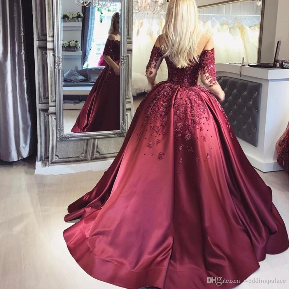 großhandel luxuriöse satin langarm ballkleider weinrot perlen ballkleid  formale abendkleider kleider lace up back kleider für besondere anlässe von