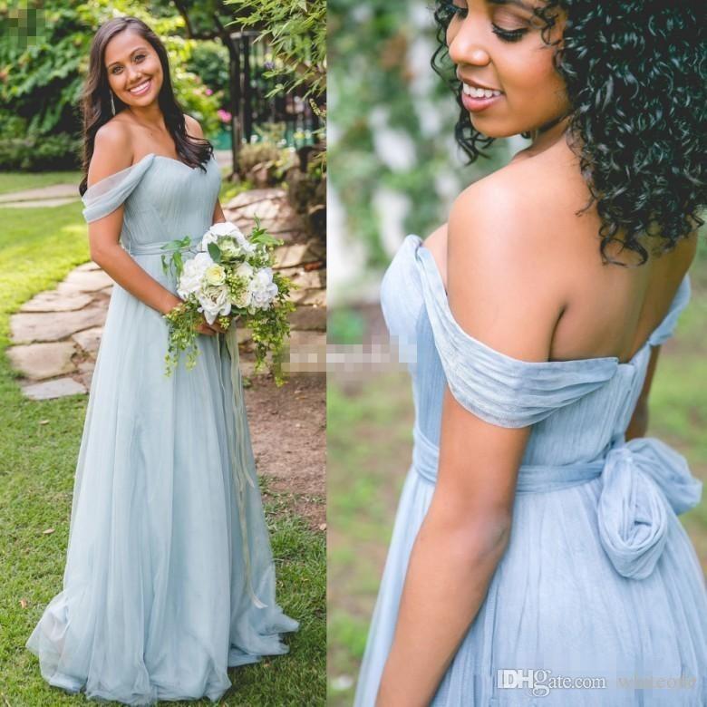 31a3ed0587 Cheap Light Blue 2017 A Line Bridesmaid Dresses Off Shoulder Sleeveless  Zipper Empire Chiffon Floor Length Country Wedding Party Guest Gowns  Fuschia ...