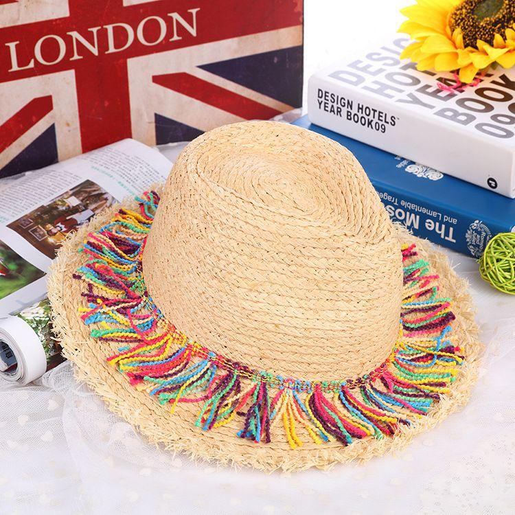 aaf39cadb0e2a Fashion New Summer Beach Colorful Tassel Straw Hat Ladies Sun Protection  Shade Travel Small Round Hat Women Girl Handmade Hats Caps Fashion Summer  Beach ...