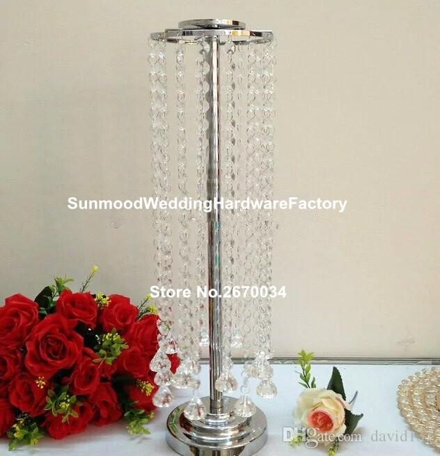wholesale crystal candle stand with hanging beads for wedding