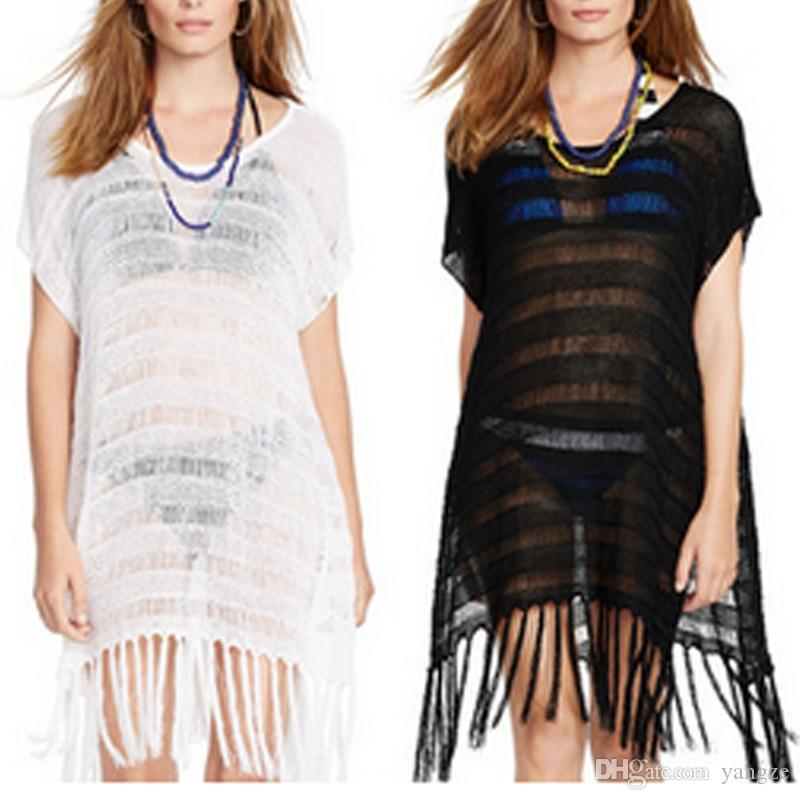 7ace0c92156 2019 2017 Summer Beach Cover Ups Dresses Crochet Fringe Beach Bikini Mesh  Swimwear Short Sleeve White Black Tassel Beach Wear LN1238 From Yangze, ...