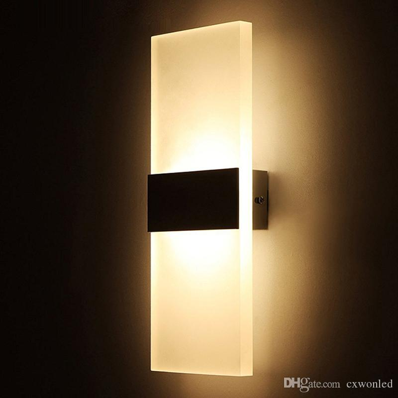 2019 Sconce Wall Lamp Square 85 265v 12w Led Light Foyer Corridor Balcony Aisle Wall Lamp White Warm White Wall Lights With Black Silver Cover From