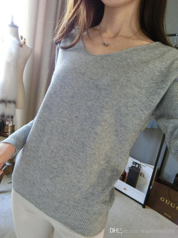 1ad8fd127e Women S Clothing Sweaters Warm Soft Cashmere Sweater Fashion Sexy V Neck  Loose Wool Sweater Batwing Sleeve Plus Size S 4XL Pullover Fre UK 2019 From  ...