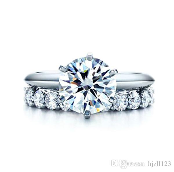T Brand 6 Prong Total 2.21 ct Synthetic Diamond Wedding Ring Set Classic Style 925 Sterling Silver Jewelry 18K White Gold Finish