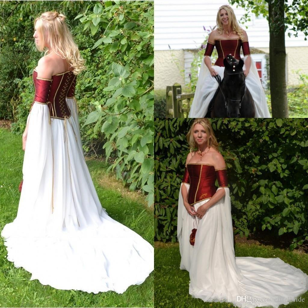 Discount Medieval Dark Red Taffeta White Chiffon Vintage Wedding Dresses Strapless Long Sleeves Lace Up Back Bridal Gowns Custom Made China Ef5194 Big