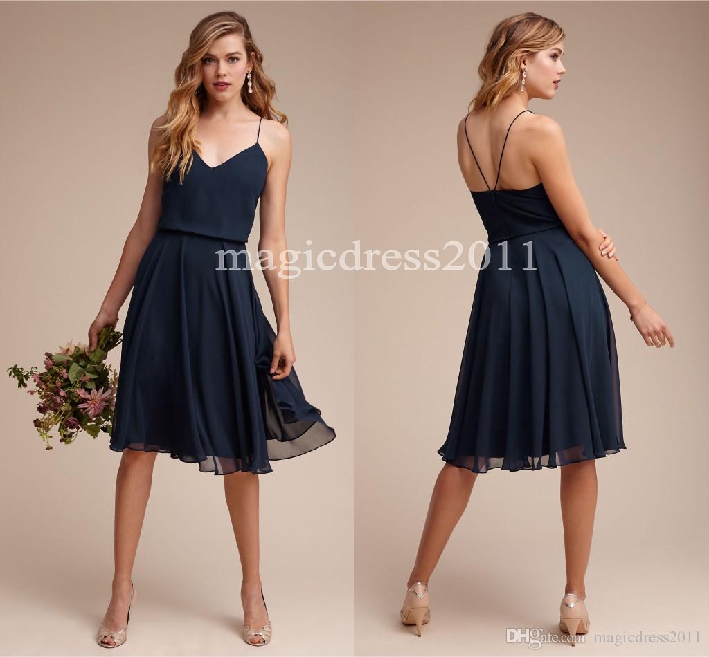 2017 Summer Beach Navy Blue Bridesmaid Dresses A-Line Spaghetti Chifon Knee-Length Ruffled Junior Bridesmaid Dresses Cheap for sale