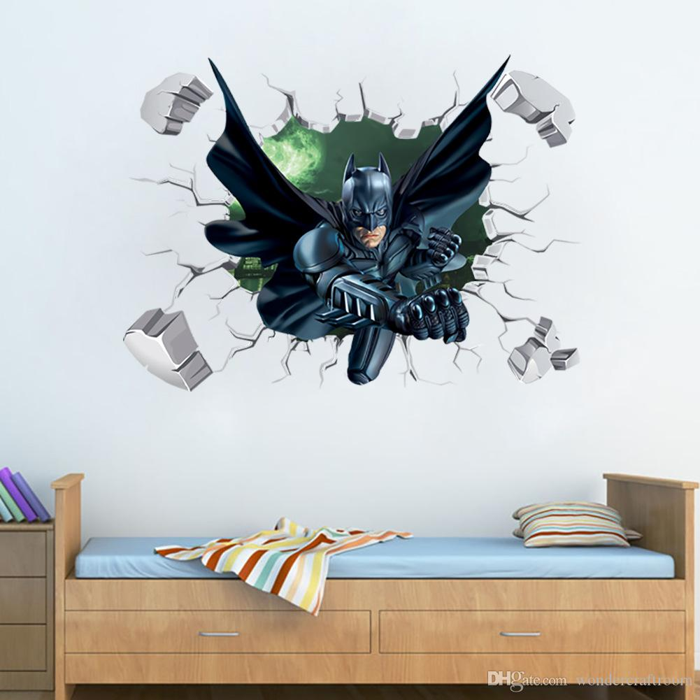 D Effect Super Hero Batman Breaking Wall Stickers Baby Kids - 3d effect wall decals