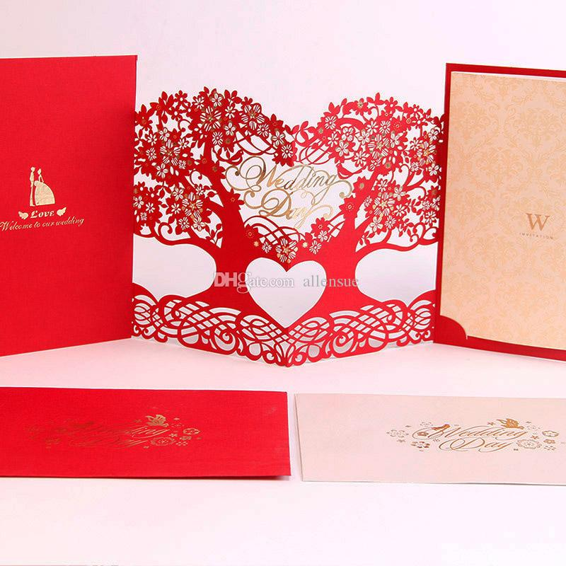 Engagement Red/Gold Hollow Tree Wedding Invitations Elegant Party ...