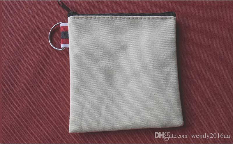 Krem renkli pamuk küçük kare bozuk para cüzdanı DIY unisex boş düz pamuk küçük torbalar fermuar olağan biçimde kırmızı tuvale anahtar vakaları cüzdanlar