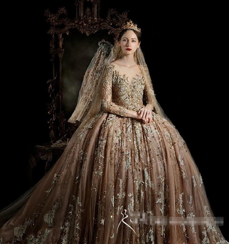 Royal House Vintage Long Sleeve Wedding Gowns 2017 High