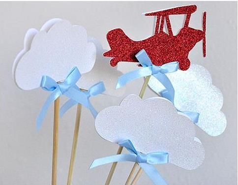 30pcs Custom personality glitter Airplane and Clouds Cupcake Toppers magic Party Decorations. picks Birthday wedding bridal baby shower