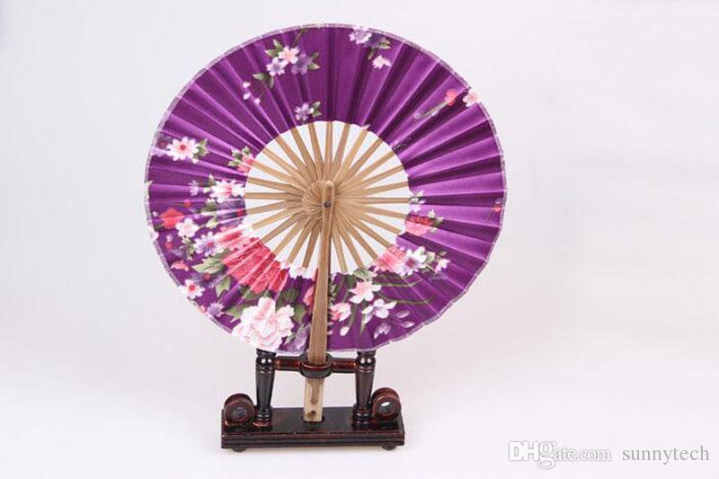 Estilo japonês Moinho De Vento De Bambu Ventilador Redondo de Seda Ventilador de Mão Japonesa Flor Held Ventiladores Pendurado Decorativo Férias Casamento Favor Do Chuveiro ZA2849