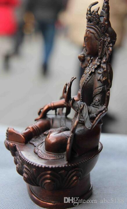 Bouddhisme Vert Cuivre Vert Tara Guan Statue de la déesse Bodhisattva Yin Kwan-yin