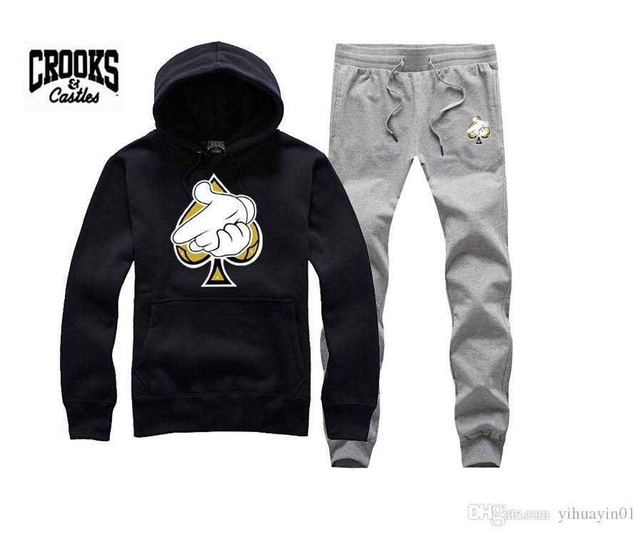 Crooks and Castles sudadera moda diamante hip hop sudadera con capucha para hombre ropa deportiva hiphop pullover sudaderas marca ladrones con estilo