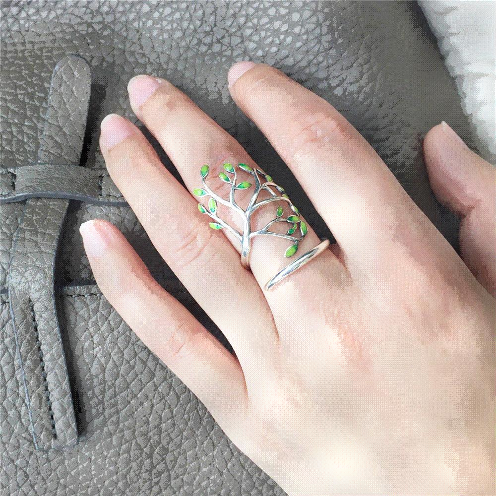 sterling handmade jewelry open rings women product eternity for prevent silver drop original allergy bands gold leaves lady white glaze