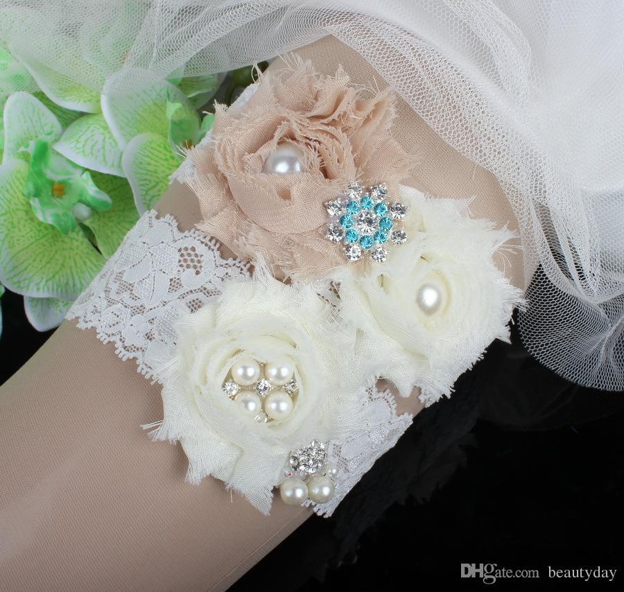 Ivory Lace Rhinestones Pearls Chiffon Flowers Wedding Garter Set Luxury With Bridal Leg Garter Belt Beads Bride Accessories Plus Size