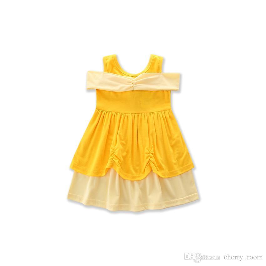 Verano de dibujos animados vestido de bebé Niñas princesa vestidos blanco Mickey sirena arco Belle niños vestido de una línea C1703
