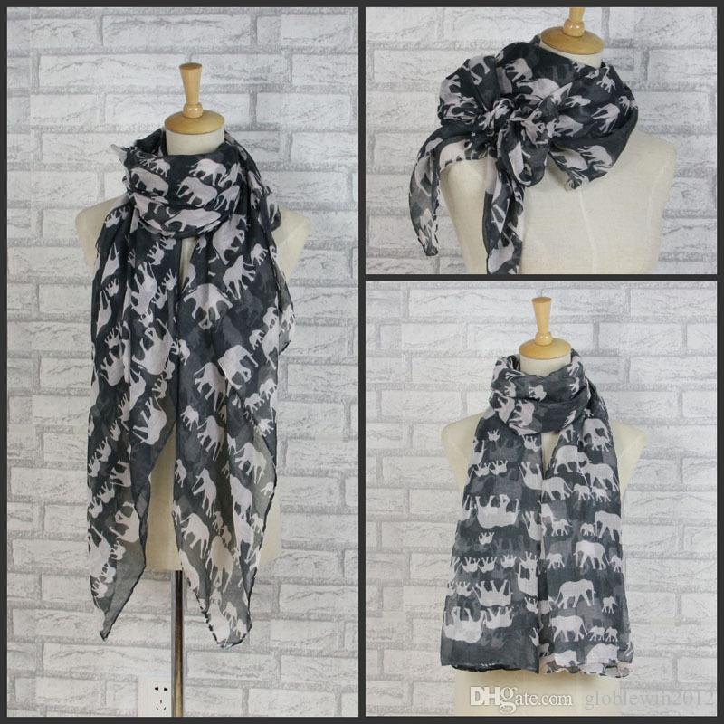 패션 코끼리 인쇄 동물 스카프 여성 목도리 랩 코끼리 그룹 Hijab 소프트 라이트 히저브 12 색, 무료 배송