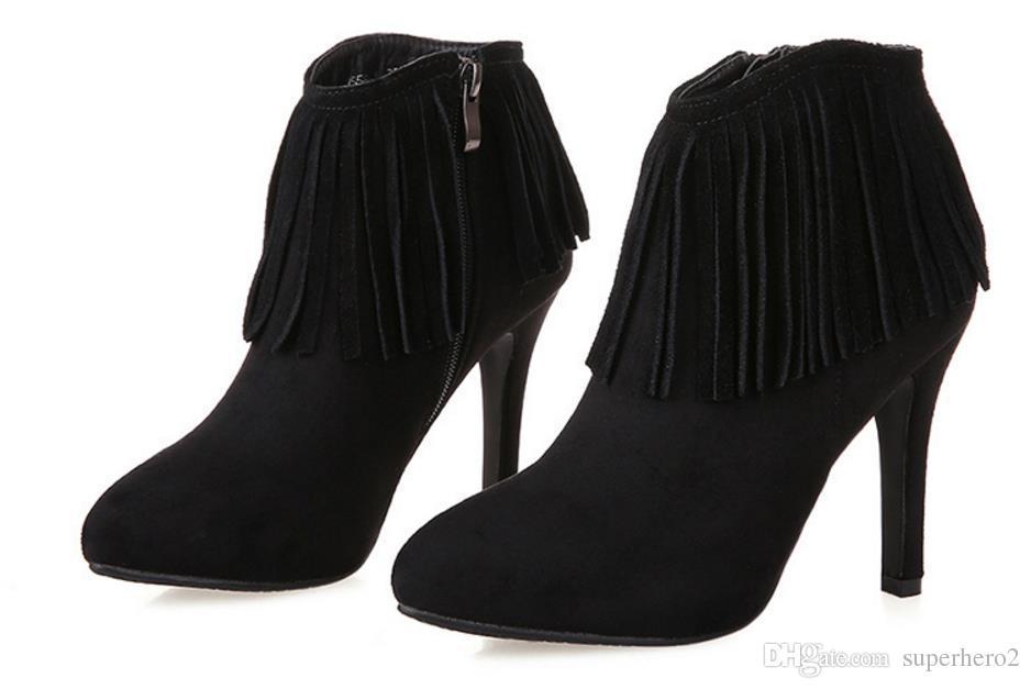 Zapatos de tacón alto de borla de tobillo de las mujeres Moda Gorgeous Party Pumps zapatos regalo de Navidad 9cm negro gris US3-7.5