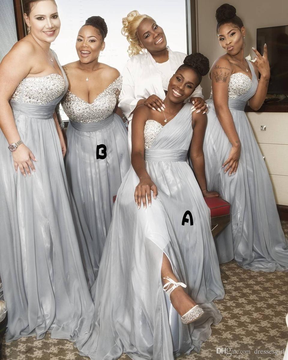 Mais novo de um ombro vestidos de dama de honra de prata Africano frisado Chiffon A linha de maid of honor vestidos preto menina casamento convidado desgaste BA8881