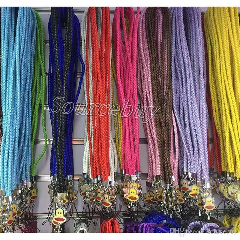 New Arrival Fashion Mobile Phone Lanyard Pretty Flowers Doraemon Hello Kitty Mouth Monkey Cell Phone Straps & Charms Neck Hang Rope Braided