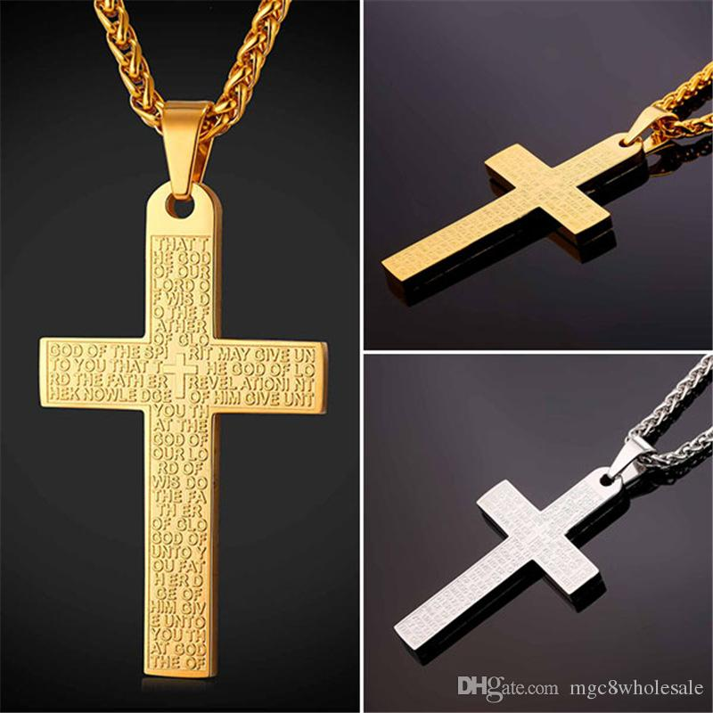 ecaa0b73be Wholesale U7 New Bible Verse Jesus Cross Pendant Necklace With Holy Bible Christian  Jewelry Stainless Steel/Gold Plated Chain For Women Men GP2437 Pearl ...