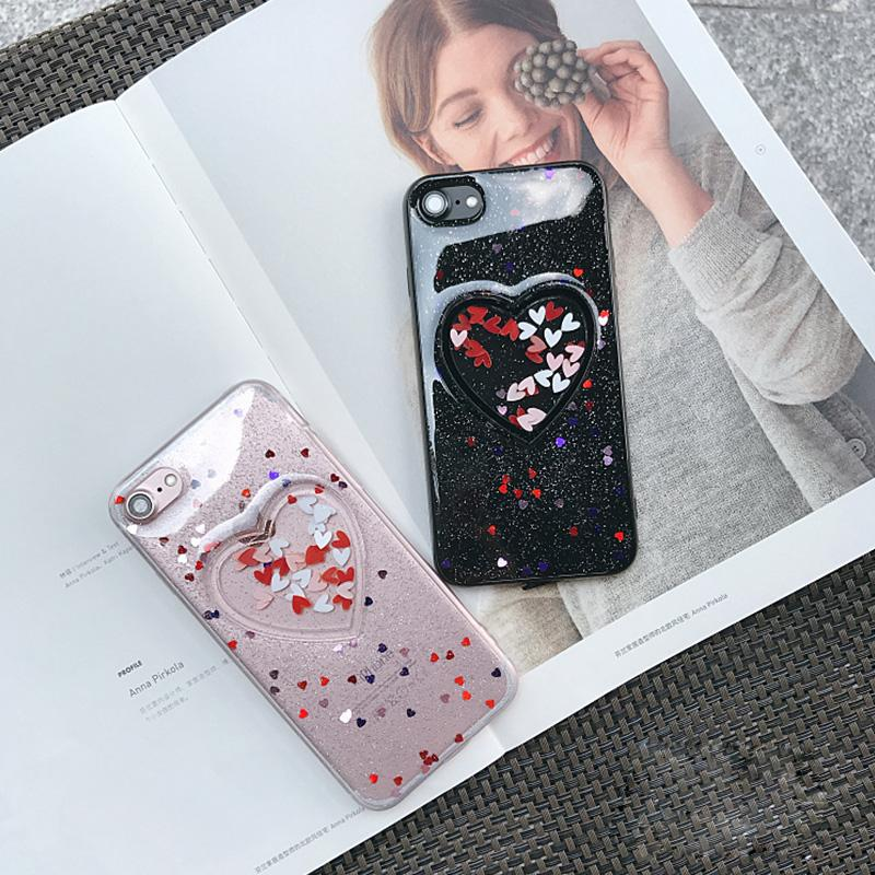 For iPhone 8 7 6s plus Hard PC & TPU Case Heart-Shaped Floating Bling Sparkle Quicksand Case Anti-Scratch Cover For iphone8 7plus SCA335