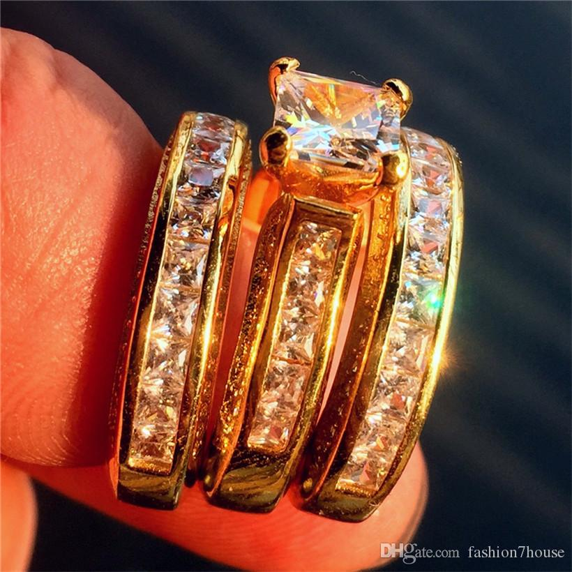 Luxury Real solido oro giallo 14K Filled Ring Set 3-in-1 Wedding Band gioielli le donne 20ct 7 * 7mm Princess-cut Topaz Gemstone Rings dito
