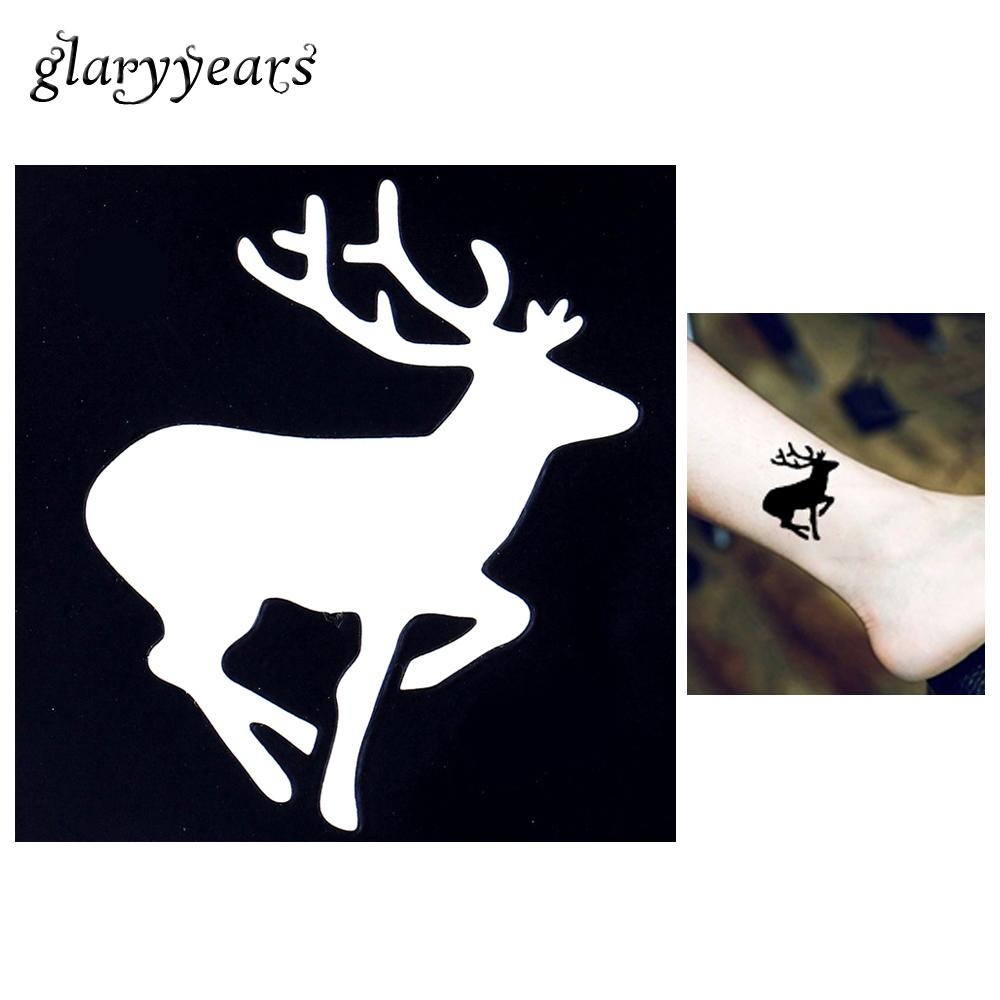 Wholesale-1pc Tattoo Stencil Body Art Airbrush Painting Running Deer Small Henna India Stencil Design Waterproof Hollow Tattoo Sticker G64