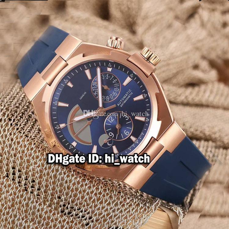 Nuevo en tiempo doble Rose Gold Blue Dial Power Reserve 47450 / 000W-9511 Reloj automático para hombre Blue Rubber Strap Relojes Luuxry VCA131b2