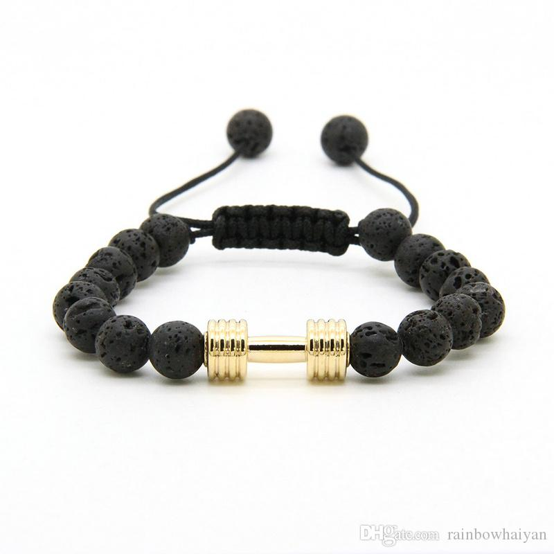 Wholesale Matte Lava Stone Unisex New Arrival Metal Silver Plated Barbell Bangle Jewelry Fitness Prayer Dumbbell Bracelets 2016 Jewelry & Accessories Charm Bracelets