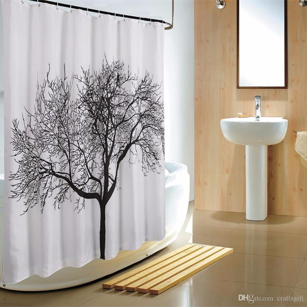 2018 180180cm Bathroom Shower Curtain Black Tree Design Polyester Home Waterproof Fabric Bath With Hooks Product From