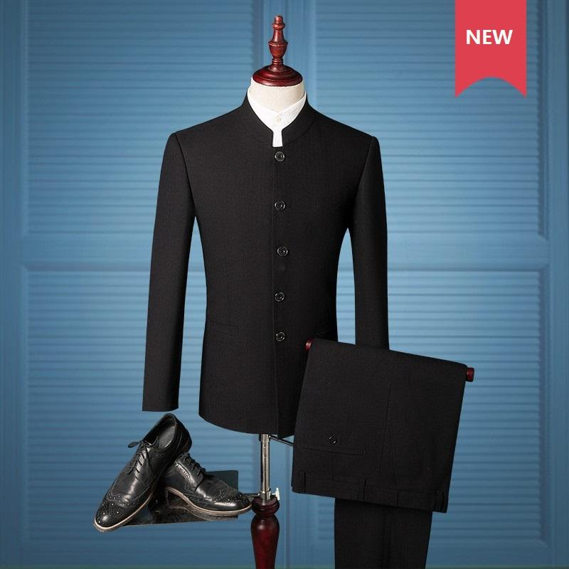 2019 Wholesale Lates Coat Pant Designs Men Suit Chinese Style Stand