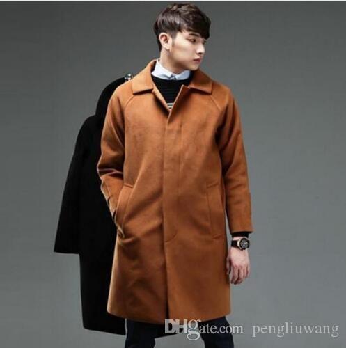 fc1a7e8dc4a 2019 Black Casual Loose Men Woolen Coats Single Breasted Overcoat Mens  Cashmere Coat Casaco Masculino Inverno Erkek Mont Sobretudo From Pengliuwang