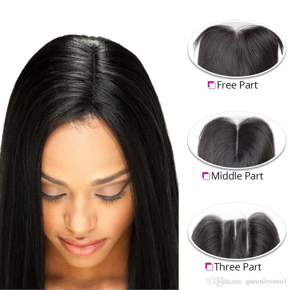 البرازيلي مستقيم الإنسان الشعر ينسج ملحقات 4 حزم مع إغلاق الحرة الأوسط 3 جزء مزدوج لحمة dyeable bleachable 100 جرام / قطعة