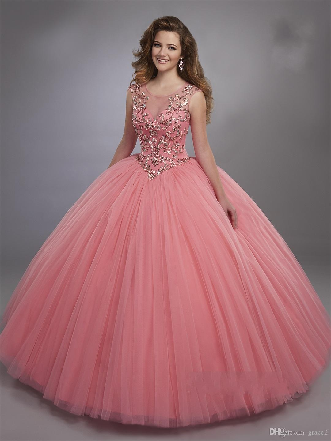 80244f9732f ... Neck And Basque Waistline Pink Sweet 16 Dress with Zipper Back Custom  Made Vestidos De 15 Anos Quinceanera Dresses 2017 2 Piece Quinceanera  Dresses ...