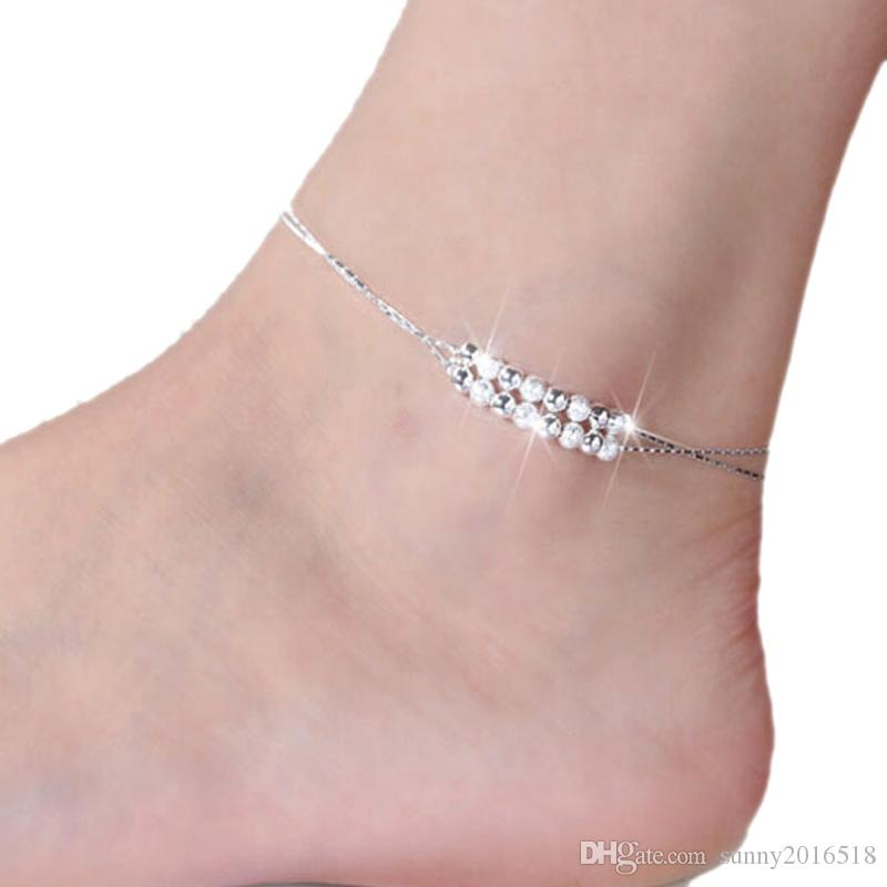 New Hot 925 Sterling Silver Plated Anklet Bracelet Chain Frost Polished Beads Anklets For Women Barefoot Sandal Beach Foot Jewelry