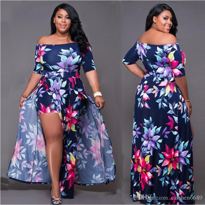 Plus Size Floral Print Halter Strapless Backless Dress 2018 Women Maxi Dresses Sexy Jumpsuit Split Summer Printing Dress Siamese Trousers