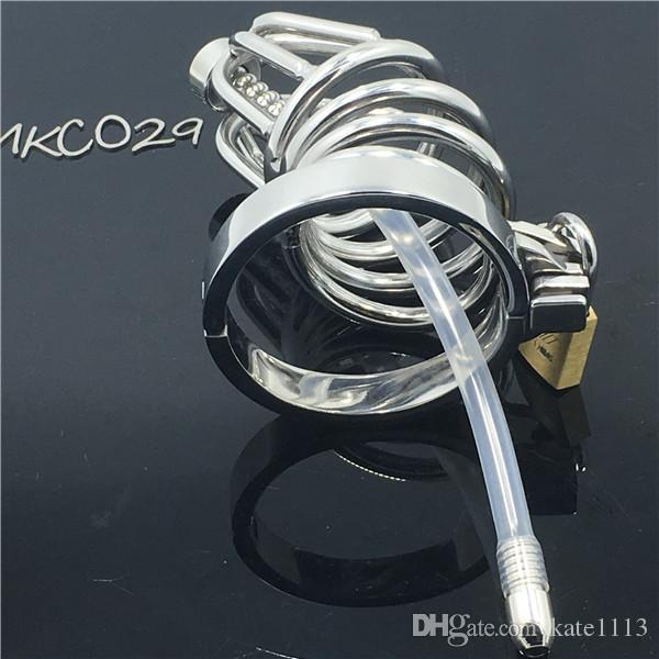 NEW Stainless Steel Male Chastity cage device/MKC029 Cock cage with 5 size Ring Adult sex toys for Male BDSM Festish CBT Game